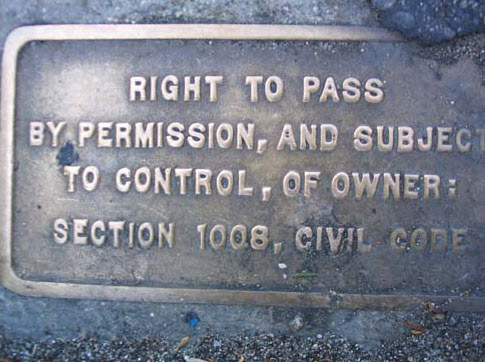 "Pplaque denoting ""right to pass"" on Los Angeles sidewalk"